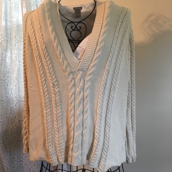 Gap Sweaters Euc Cream Cable Knit Hooded Sweater Poshmark
